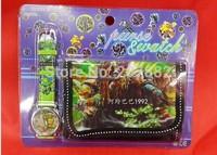 Free Shipping 100pcs/lot  2015 Popular Ninja turtleTMNT Children Watch Set Cartoon Baby Watch Set (Watch +Wallet) A101