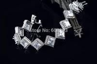 New arrival clear square zircon bracelet & bangle link zirconia bridal wedding jewelry for women