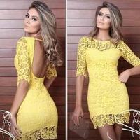 6 2015 new arrive S-XXLslim fit bodycon yellow Design Sexy Dress women Party dress bandage vestidos plus size
