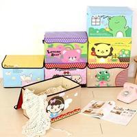 2015 Cute Cartoon Clothes Storage Box Double Handle Container Bins Finishing Box Closet Organizer Box Home Storage Box