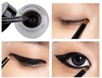 Free Shipping Cosmetic Set Black Liquid Eyeliner Waterproof Eye Liner Pencil Shadow Gel Eyeliner Makeup + Black Brush MK0005