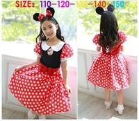 EMS DHL Free shipping little girls kids Black Red Minnie Dot Princess  Dress Holiday Casual Dress