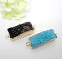 8pcs Wholesale Jewelry Fashion Nature Druzy Rectangle Crystal Quartz Drusy gem stone Connector Mix color(buyer can choose color