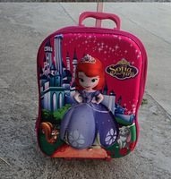16 inch sofia princess children school bag 3D cartoon design Bag wheeled school bags  trolley backpack frozen kids bag