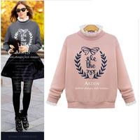 2015 spring new lace stitching sweatershirt printed cotton shirt  femeal 8652