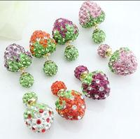 Hot Sale Double Pearl Earrings For Women Multicolor Strawberry Earrings Crystal Stud Earrings Women Fashion Jewelry PE012