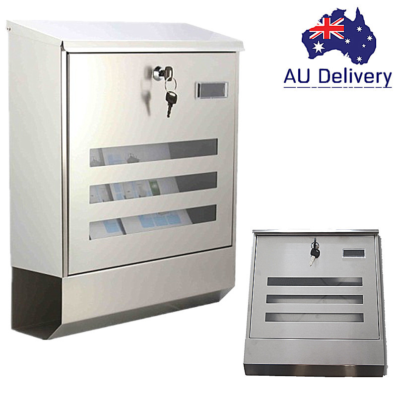 AU XX HPBC0M918 SS Waterproof 304 Wall Mount Post Letter Box MailBox Mail Drop Stainless Steel