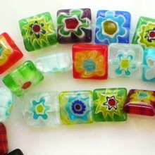 Beautiful Bead 38pcs Square Millefiori Flower Lampwork Glass Beads 10mmx10mm