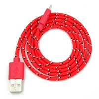 2015NEW 1M 3 Feet Multi-color Micro USB Nylon Braided Charging Cable For Android Smartphone and Tablet