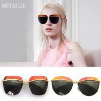 2015 Brand Designer Reflective Sunglasses Women Oculos De Sol Gafas Lentes Conceptual Models METALLIC Futurism Unsixe Glasses