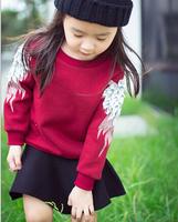 Retail Children Spring Winter Sweatshirt Girls Boys Wing Thick Cotton Clothes For Babies Kids Sweatshirts AB656