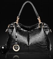 New 2015 Fashion Women Handbag genuine Leather Shoulder Bags Woman Sequined Decoration Crocodile Lines Shoulder Bags for Woman