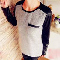 Fanshou Free Shipping 2015 Women Blouse Spring Autumn Long Sleeve Casual Shirt O-Neck PU Patchwork T-shirts Women Tee Tops