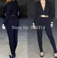New 2015 Spring.Summer Fashion Polka Dots Plus Size Jumpsuit Zipper Vest Full lengtn Elastic Waist Jumpsuits & Rompers women