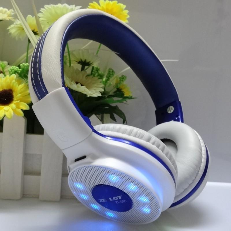 Mp3 wireless card Headset head wearing type computer mobile phone voice headset bass light Headset movement(China (Mainland))