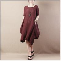 Cotton & Linen Summer Spring 2015 Arrival Women Loose Plus Size Irregular Solid Casual Breathe Comfortable Vintage Linen Dress