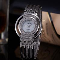 Relogios Femininos 2015 Ladies Watch Famous Brand Silver Steel Band Round Analog Elegant Women Dress Watches Special Design