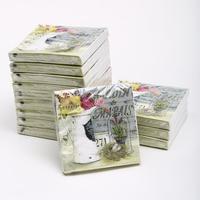 [12 packs]100% virgin wood pulp food-grade printed paper napkins wedding paper napkin colorful tissue paper serviette-4NC3418