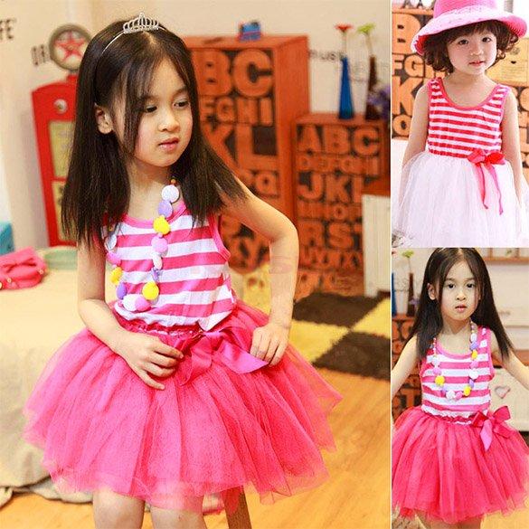 2015 Summer Baby Girls Flower Sleeveless Toddler red Stripe Dresses Kids Children Bowknot Cute Tulle Party Princess Sundress(China (Mainland))