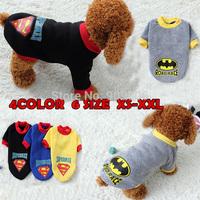 New Arrival Dog Coat Superman Batman Sweater Pet Jacket Puppy Sport T Shirt Costumes Clothes