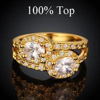 Luxury Double CZ Diamond Ring Jewelry for Women