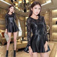 2015 autumn winter fashion sexy cutout lace PU leather long-sleeve basic slim one-piece dress