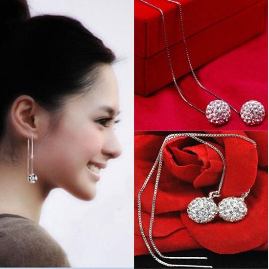 New Fashion Women's Silver Plated Earrings Crystal Balls Long Dangle Earring 8/10mm(China (Mainland))