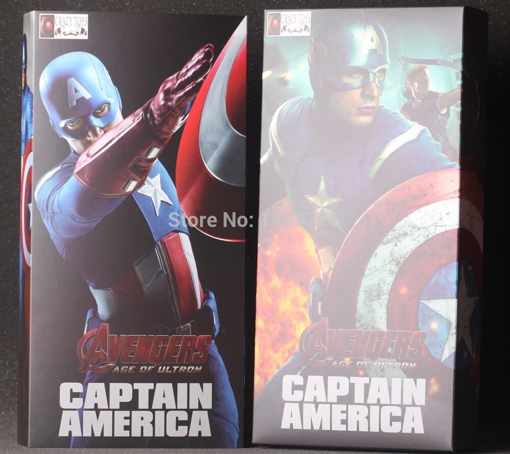 "New Hot Crazy Toys Captain America Steven Steve Rogers Marvel The Avenger Superhero Age Of Ultron 9"" Figure Toys New Box(China (Mainland))"