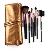 7Pcs Big Discount! High Quality  Makeup Brush Set in Sleek Golden Leather-Like Case Portable Make up Brushes