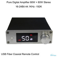 Pure Digital Amplifier 2X80W Stereo USB Fiber Coax  Signal 16-24Bit 44.1-192KHz LED Display Remote Control Black HIFI Audio