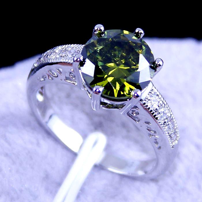 KK5664 RING UNUSUAL green peridot silver 18k real white gold plated jewelry(China (Mainland))