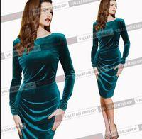 Women Fall Winter Dress 2015 New Long Sleeve Slim Bodycon Elegant Frill Stretch Party Knee-length Midi Wear to Work Casual Dress