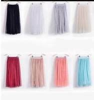new 2014 fashion women summer casual skirt high waist chiffon tulle skirts long skirt 6 colors 0915 plus size
