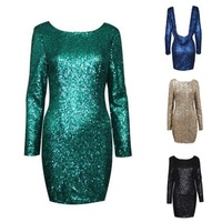 Free Shiping NEW ARRIVALS Fashion Gold Sequined Dress Sexy Backless Bodycon Party Dress