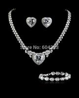 3 styles assort  brass sparkling heart wedding bridal jewelry set white gold plated zircon jewelry sets