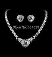 Generous crystal heart wedding bridal jewelry set white gold plated zircon jewelry sets