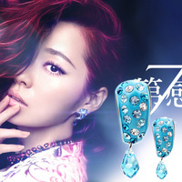 New 2015 album seventh sense temptation BLUELOVER meniscus tooth crystal earrings brincos pequenos ear rings sapphire jewelry