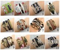 38 Designs Leather Bracelet Fashion Handmade Antique Cross Anchor Love Peach Heart Owl Bird Charm Bracelets S002