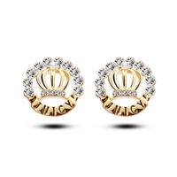 Wholesale earrings female super flash Rhinestone earrings queen crown vintage earrings fashion large stud earrings piercing