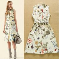 2015 Summer Catwalk Designer Brand Dress Women's Elegant High Quality Colorful Flower Printed Belted Knee Length Career Dress