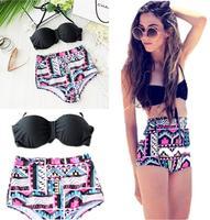 2015 NEW Vintage High Waist Bikini brazilian Women Lady Girl's Bandage Swimsuit Push Up Bikinis Sets Beachwear Swimwear