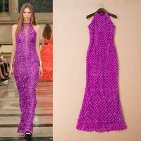 Free shipping sleeveless gauze handmade applique slim hip full dress dinner party formal evening dress wholesale va1830