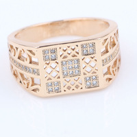 Solid 18k Gold Filled Mens Ring Size 9 Mesh Austrian Crystal Pave Setting