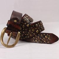 Sainberry belt men women cowhide genuine leather pin buckle vintage punk rivet fashion style jeans blet unisex free shipping