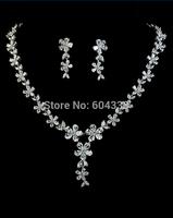 Daisy flower wedding bridal jewelry set platinum plated zircon jewelry sets for women