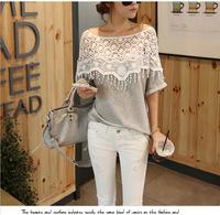 Hot Sale 2015 Korean Cute Sweet Lace Tshirts Cutout Women Handmade Crochet Cape Collar Batwing Sleeve Tops women T Shirt