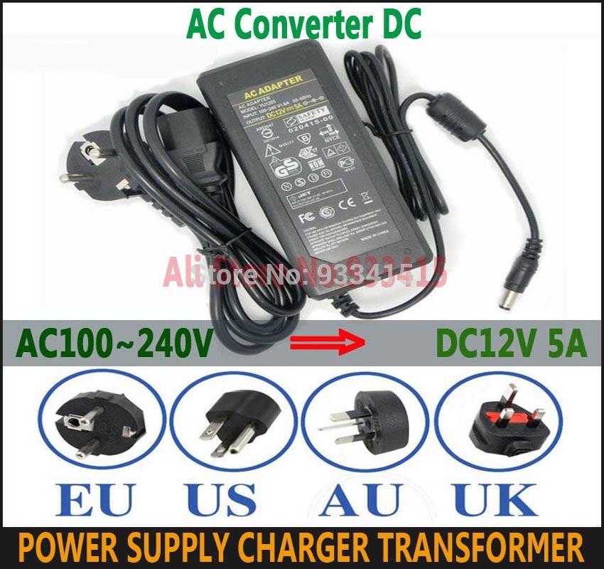 AC100~240V Converter Adapter 12V 5A 60W Power Supply Charger Transformer For LED Strip.LCD Monitor CCTV EU/US/AU/UK Plug Socket(China (Mainland))