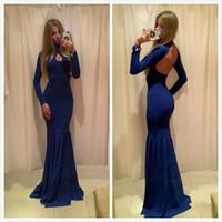 Vestidos De Festa Autumn Winter Bodycon Mermaid Dress Long Sleeve Blue Evening Dress 2015 Fashion Backless Maxi Dress to Party