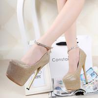 Sexy women's shoes ultra high heels single shoes platform thin heels shoes round toe strap women's shoes