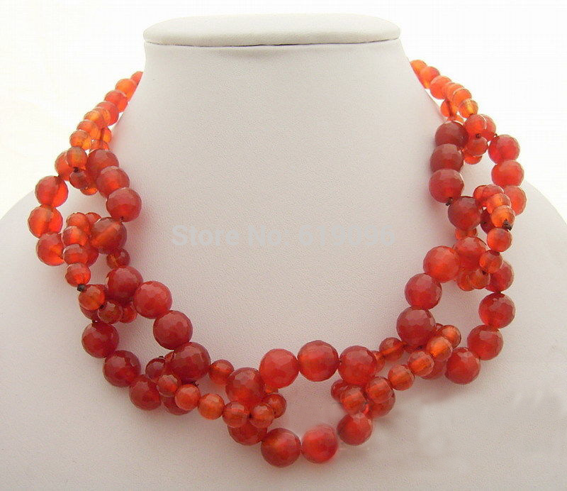 red Round Faceted Carnelian Necklace(China (Mainland))